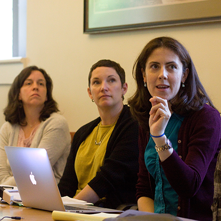 Members of the Connecticut College faculty participate in a workshop through the College's Joy Shechtman Mankoff Center for Teaching & Learning.