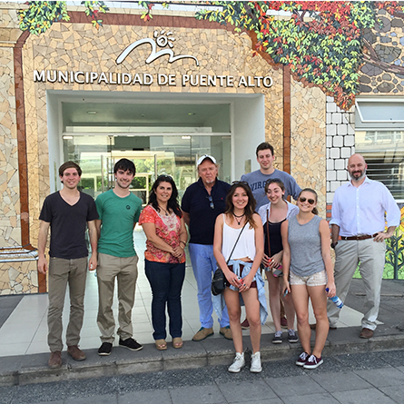 Students and Professor Alex Hybel on their trip to Chile.