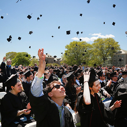 Hats in the air at Commencement