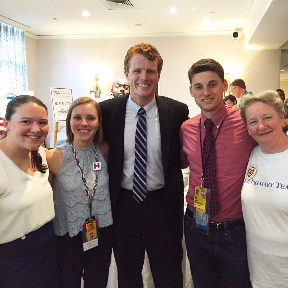 Christina Rankin '18 (second from left) met Massachusetts Rep. Joseph Kennedy III (center) at the Democratic National Convention in Philadelphia.