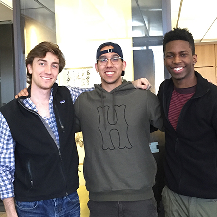 L-R: Joseph Donohue '16, Francisco Santana '18 and Jermaine Doris '19
