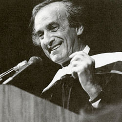 Elie Wiesel spoke at Palmer Auditorium in 1990 to commemorate the establishment of the Elie Wiesel Chair in Judaic Studies.