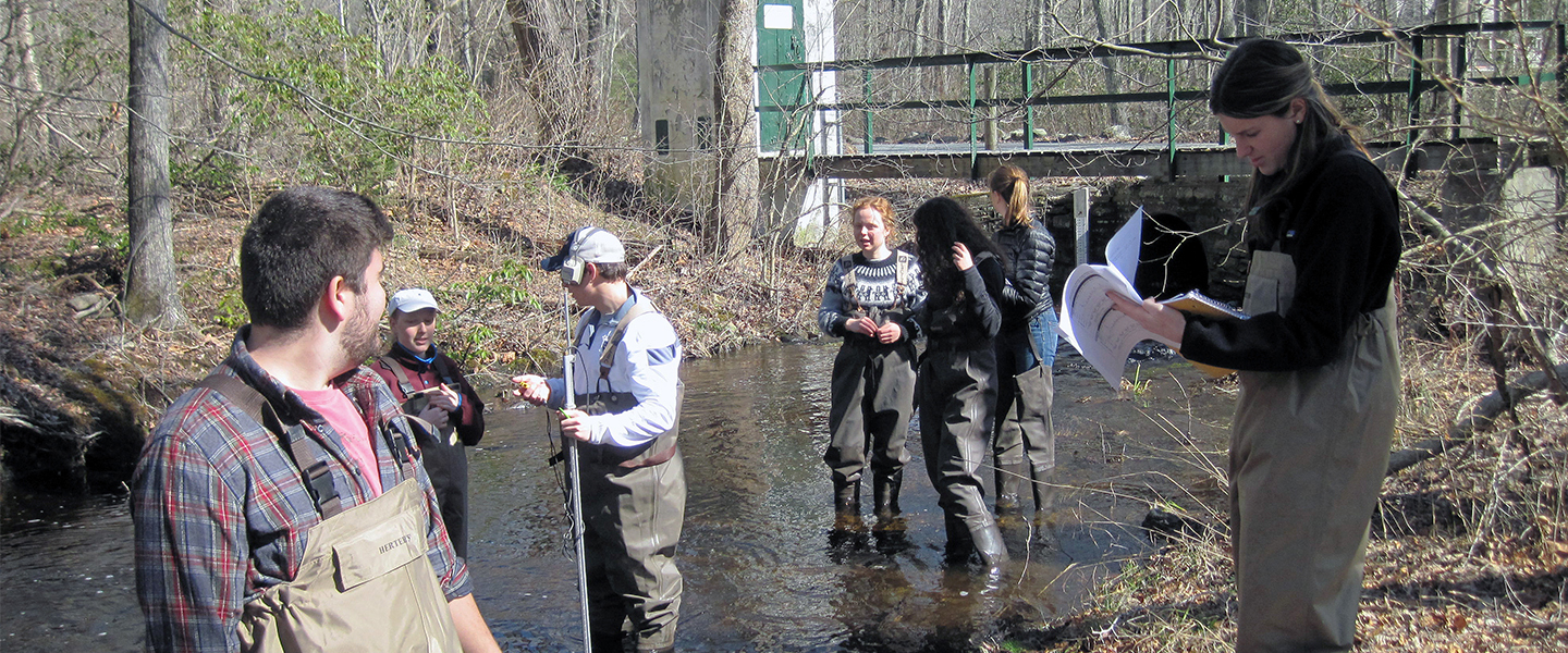 Students test water samples in a local river