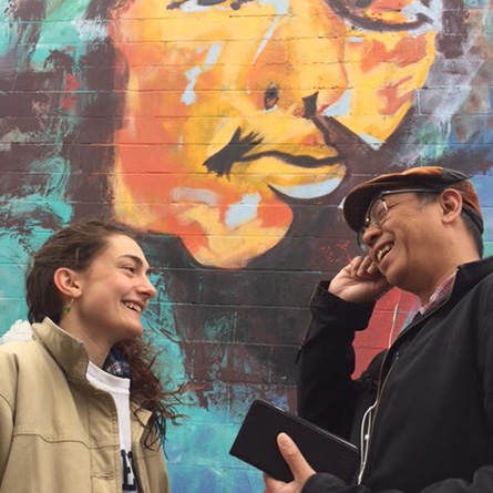 Virginia Gresham '17 with New London artist Jonas Sanchez in front of his