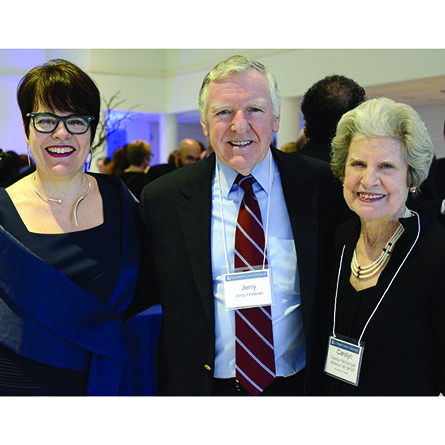 (From left) President Katherine Bergeron with Jerry Holleran and Carolyn Holleran '60 GP '07