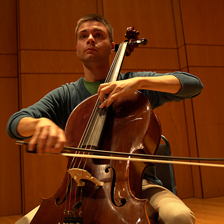 Gerard Lanzano '17 practices on his cello, Pyotr