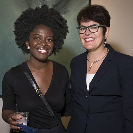 Author Yaa Gyasi, left, with President Katherine Bergeron