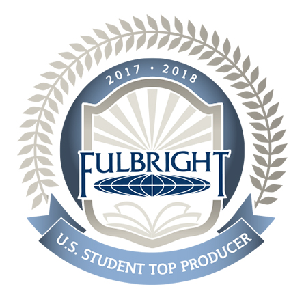 A logo for the top producers of US Student Fulbright awards