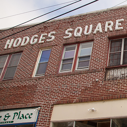 The exterior of the Hodges Square shopping center