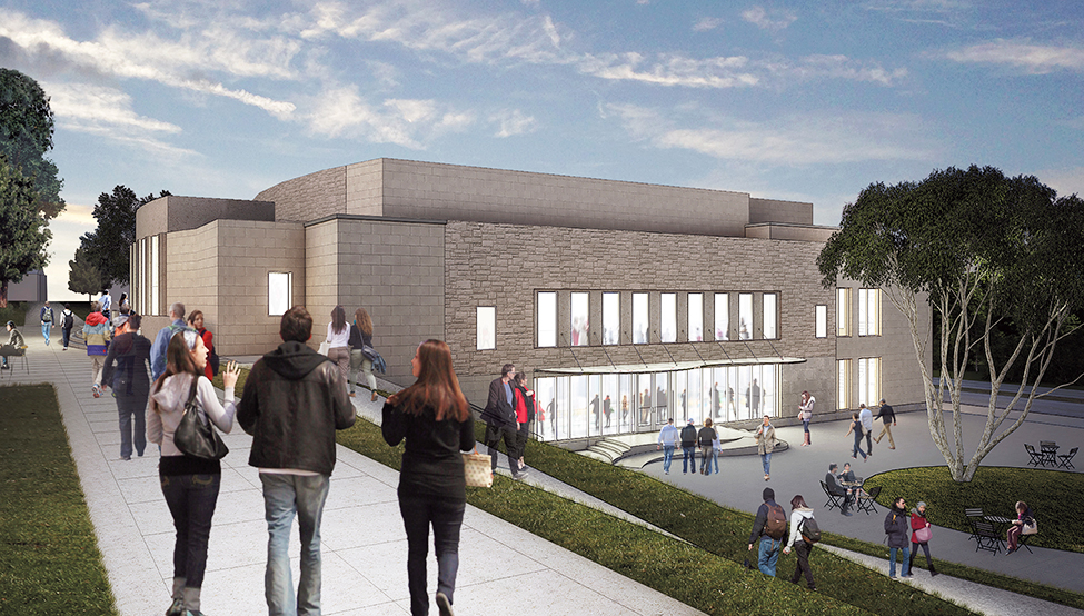 A rendering of the renovation plans for Palmer Auditorium seen from Tempel Green.