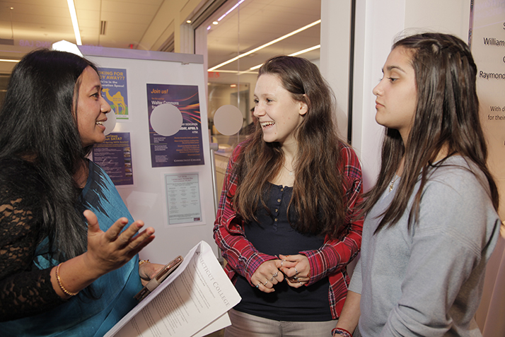 Binalakshmi Nepram, Connecticut College's Rescue Scholar-in-Residence, speaks with students at the Founders Day dedication of Otto and Fran Walter Commons for Global Study and Engagement