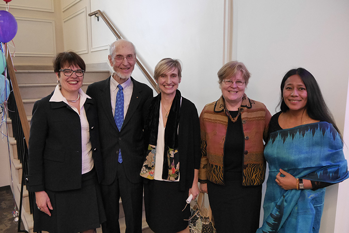 From left: President Katherine Bergeron, Frank Helman, Director of the Walter Commons Amy Dooling, Martha Peak Helman '75 and Rescue Scholar-in-Residence Binalakshmi Nepram.