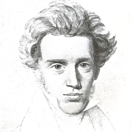 A drawing of philosopher Soren Kierkegaard