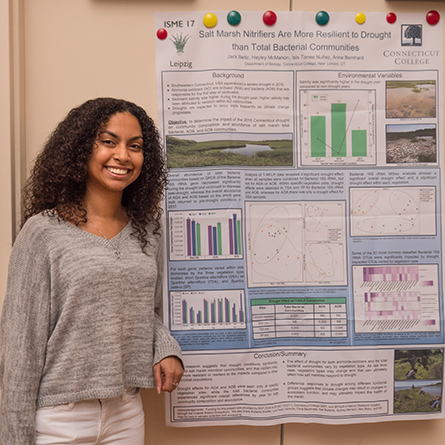 Isis Torres Nuñez '20 presented her research on microbes at the Oct. 5 summer science symposium.
