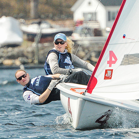 Skipper Alexandra Maurillo '18 and crew Paige Dunlevy '20