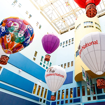 Hot air balloons decorate the inside of the Children's National Medical Center