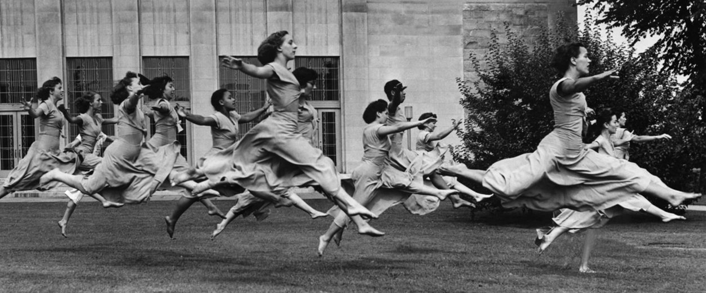 An archival photo from The New York Times from a rehearsal for the American Dance Festival in 1948.