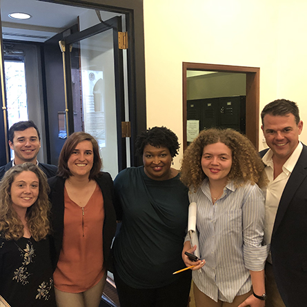 From left: Dana Gallagher '19, Jackson Bistrong '19, Sharon Van Meter '20, former Georgia gubernatorial candidate Stacey Abrams, Katherine Farr '21 and Professor of History and American Studies Jim Downs.