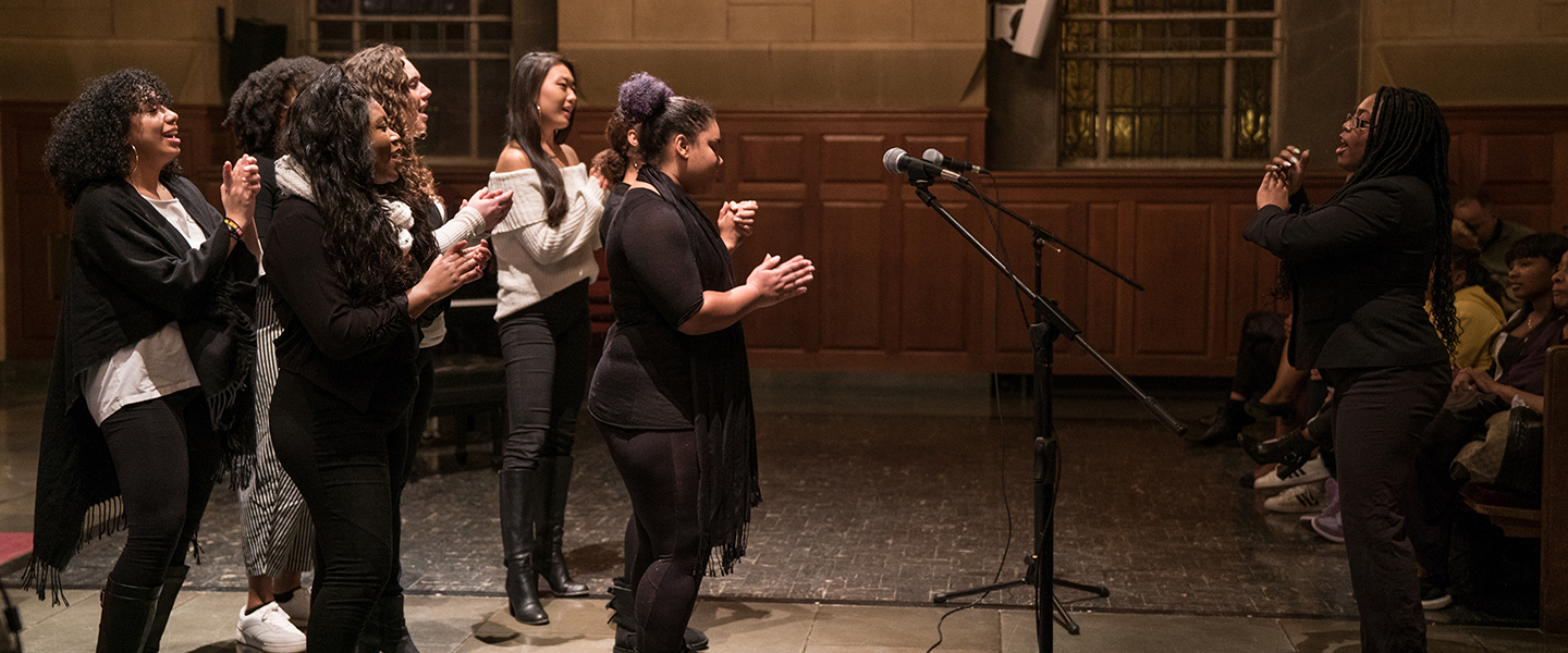 The Connecticut College Gospel Choir performs in Harkness Chapel