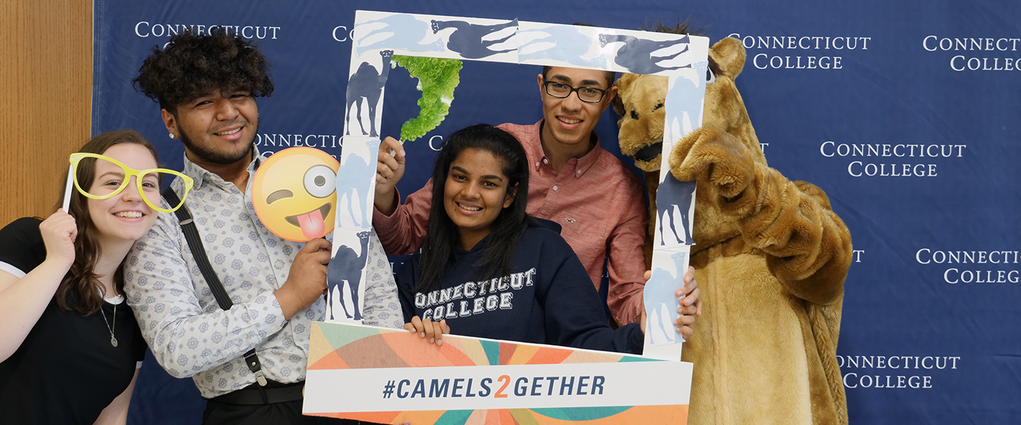 Students pose with the Camel mascot