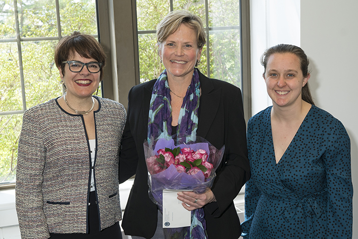 Melissa Ryan poses with President Katherine Bergeron and Margaret Bounds, chair of the Presidential Staff Recognition Awards Selection Committee.