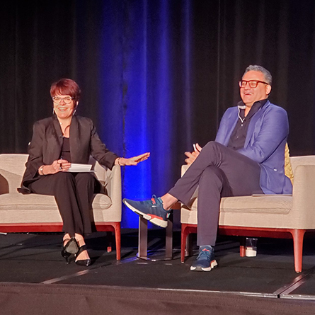 President Katherine Bergeron interviews Jonathan McBride '92 on stage during the  Council of Independent Colleges's annual Presidents Institute.