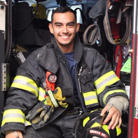 A photo of Hector Salazar '20 in his firefighting gear.