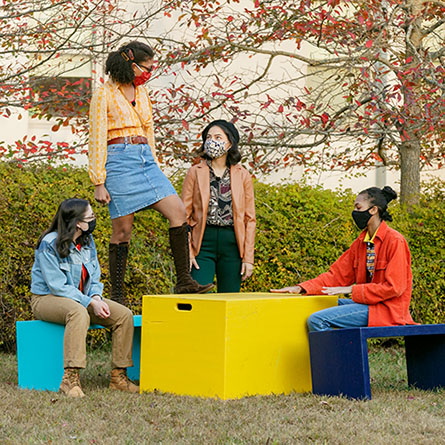 Actors perform Seven Twenty-Five, written by Ana Reyes-Rosado '20, outside on Conn's campus.