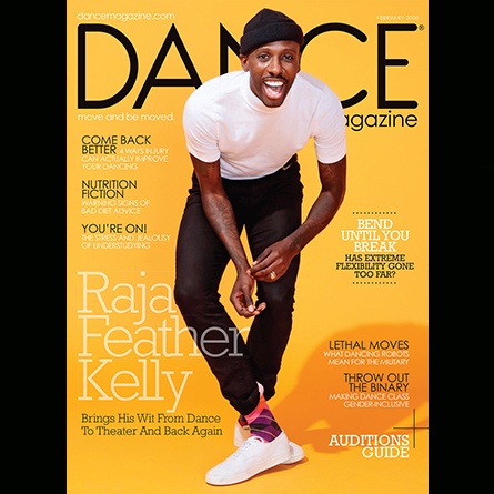 The cover of Dance Magazine, featuring Raja Feather Kelly '09
