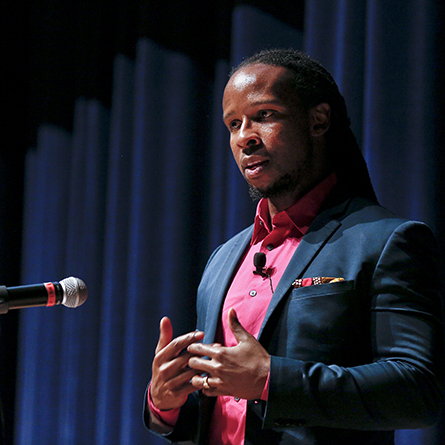 Bestselling author Ibram X. Kendi speaks at the U.S. Coast Guard Academy as part of Conversations on Race, a collaborative series of community discussions hosted by Connecticut College and The Day newspaper and in partnership with the USCGA.