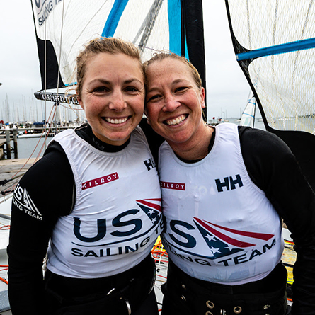 Stephanie Roble and Maggie Shea '11, 49erFX World Championship bronze medalists and Tokyo 2020 U.S. Olympic Sailing Team athletes