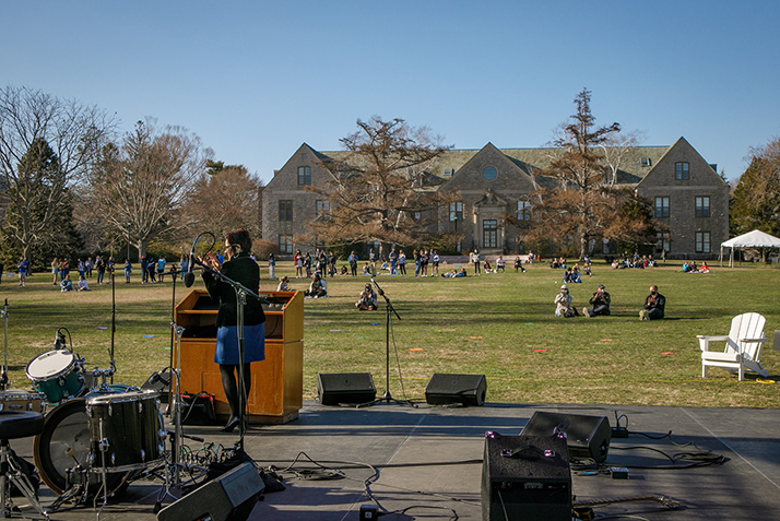 Members of the College community gather on Tempel Green to celebrate Founders Day.