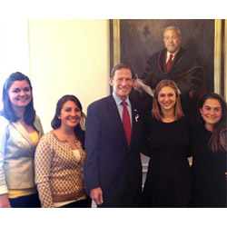Students Casey Dillon '14, Julia Cristofano '14, Alia Roth '14 and Carter Goffigon '14 were among the many participants in the roundtable discussion with Sen. Richard Blumenthal. Photo courtesy of Alia Roth '14.