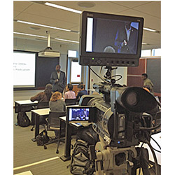 A camera crew visited Professor David Canton's classroom Oct. 8 to film his lecture,