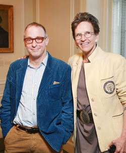 Humorist and best-selling author David Sedaris poses with Connecticut College Writer-in-Residence and Weller Professor of English Blanche Boyd at the College's Klagsbrun Symposium Oct. 15.