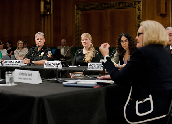 Darcie Folsom participates in a roundtable on preventing and responding to campus sexual assaults.