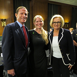Darcie Folsom, director of sexual violence prevention and advocacy, center, with U.S. Senators Blumenthal, left, and McCaskill. Folsom was in Washington to participate in a roundtable discussion about preventing and responding to sexual assaults on college campuses.