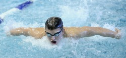 Sam Gill '14 swims to an All-American finish in the 100-yard butterfly at the 2013 NCAA Division III Swimming and Diving Championship.