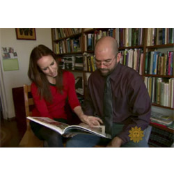 In this screenshot from the June 9 segment, Professor Anthony Graesch and CBS Sunday Morning contributor Faith Salie flip through Graesch's book,