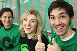 Juniors Winona Mantelli (far left), Kaitlin McDonagh (center) and James O'Connor proudly don Green Dot gear to cheer on the Camels at the third annual Green Dot Hockey Game. Scroll down to see more photos from Green Dot Week.
