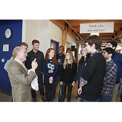 President Higdon talks with students at a recent event in his honor.