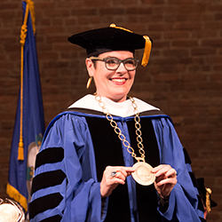 As part of the installation ceremony, President Katherine Bergeron was presented with the presidential medallion. Designed to be worn on ceremonial occasions as part of the president's regalia, the medallion is a symbol of the authority entrusted to the new leader.