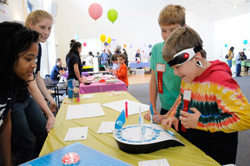 At the annual Kids Judge Neuroscience Fair, Connecticut College students teach local elementary students about how the brain works with hands-on activities.