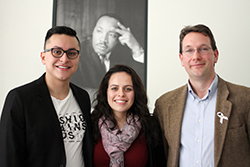 The 2014 Dr. Martin Luther King Jr. Service Award winners are (from left): Anthony Sis '14, Associate Director of OVCS Kimberly Sanchez and Associate Professor of History Leo Garofalo.