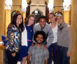 Sybil Bullock '14, second from left, is interning this summer at the Center for Cross-Cultural Learning in Rabat, Morocco. Bullock is one of 52 members of the Class of 2014 completing an international College-funded internship. (Homepage photo: Claire Wellbeloved-Stone '14 is interning with the World Wildlife Fund in the Galapagos Islands.)