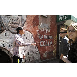 Museo del Barrio tour guide Valentine, left, discusses the Celia Cruz Mural in Spanish East Harlem and its significance with Nate Roy '14 and Tess Mikolajczak '15 (far right).