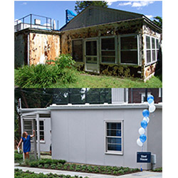 Before and after shots of the Steel House, which was known as