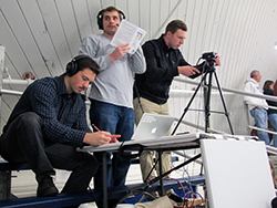 Gordon Donnelly '16, Steven Victor '15 and Patrick Leary '15 broadcast a women's ice hockey game against Trinity. Photo by Grace Griffin '14.