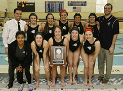 The women's water polo team celebrates its second consecutive CWPA championship.