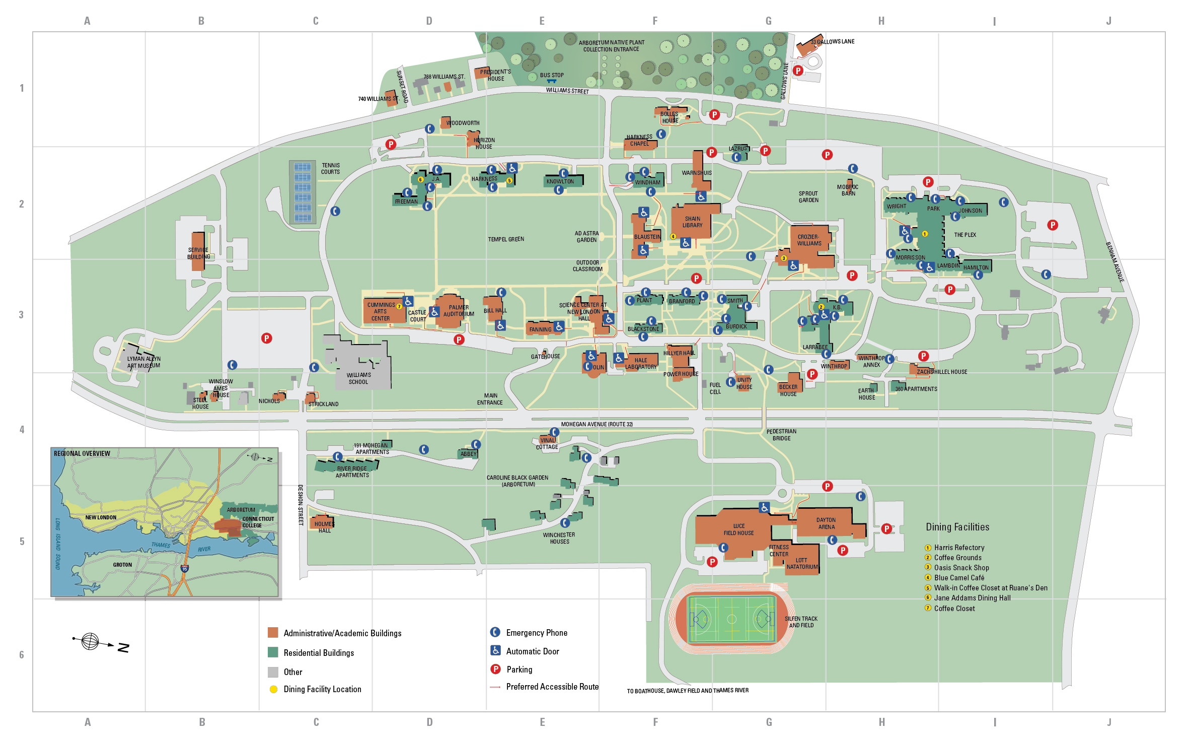 conn coll campus map Campus Map Connecticut College conn coll campus map